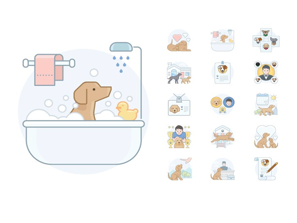 Preview of 15 Dog Activities Icons